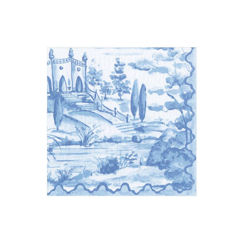Caspari Tuscan Toile Paper Cocktail Napkins in Blue - 20 Per Package