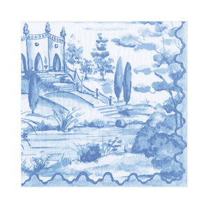 Caspari Tuscan Toile Paper Luncheon Napkins in Blue - 20 Per Package