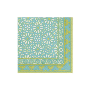 Caspari Alhambra Paper Cocktail Napkins in Turquoise - 20 Per Package