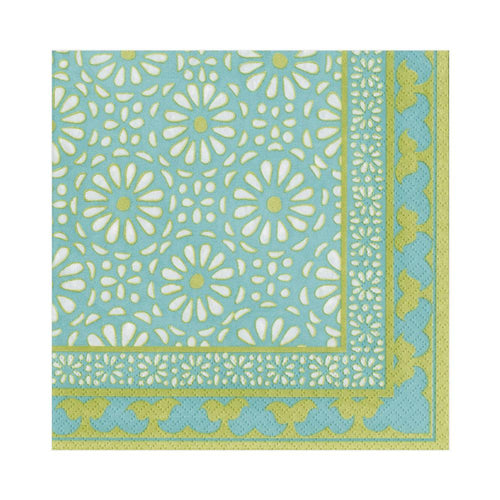 Caspari Alhambra Paper Luncheon Napkins in Turquoise - 20 Per Package