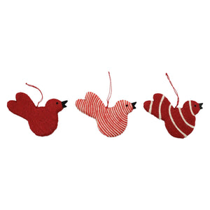 Vietri Assorted Red Bird Ornaments