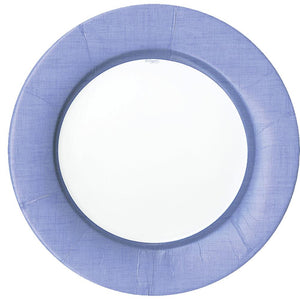 Caspari Linen Border Paper Dinner Plates in Lavender - 8 Per Package