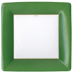 Caspari Grosgrain Square Paper Dinner Plates Hunter Green - 8 Per Package