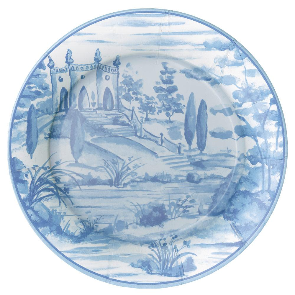 Caspari Tuscan Toile Paper Dinner Plates in Blue - 8 Per Package