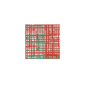 Vietri Papersoft Napkins Plaid Green & Red Cocktail Napkins (Pack of 20)