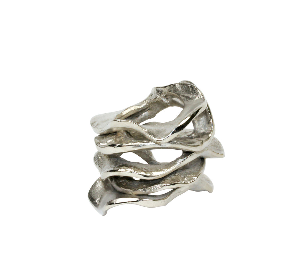 Kim Seybert Flux Napkin Ring in Silver - Set of 4