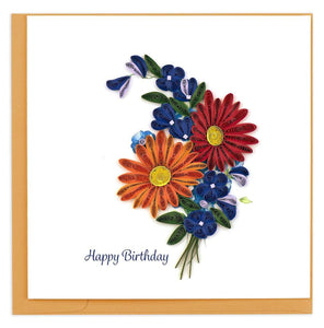 Quilling Card - Happy Birthday Wild Flowers