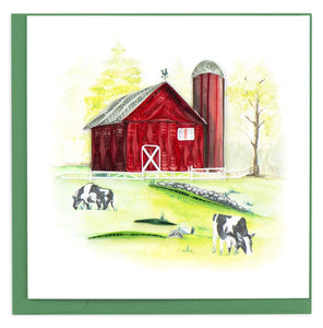Quilling Card - Red Barn Greeting Card