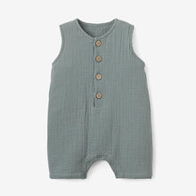 Load image into Gallery viewer, Elegant Baby Sage Organic Muslin Button Down Shortall