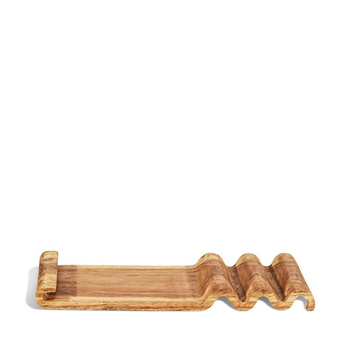 Montes Doggett Waffle Carved Wood Tray