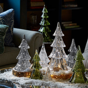 "Juliska Berry & Thread 10.5"" 3pc Stacking Glass Tree in Evergreen with Snow"