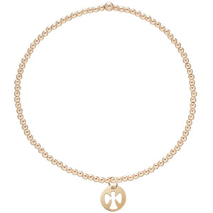 enewton Classic Gold 2mm Bead Bracelet - Guardian Angel Small Charm