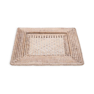 Rattan Square Plate Charger in White Natural
