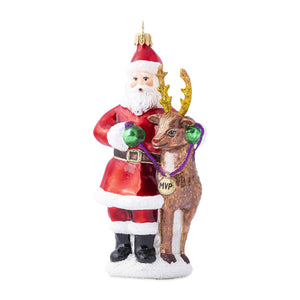 Juliska Country Estate Reindeer Games Santa and Rudolph Glass Ornament