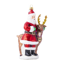 Load image into Gallery viewer, Juliska Country Estate Reindeer Games Santa and Rudolph Glass Ornament