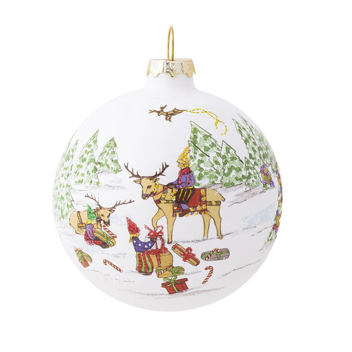 Juliska Berry & Thread North Pole Reindeer Glass Ornament