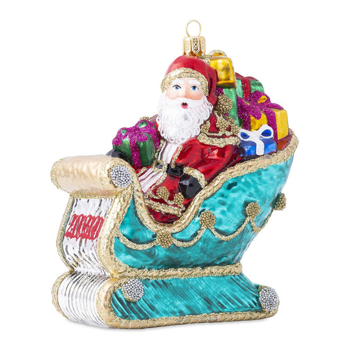 Juliska Berry & Thread 2020 Santa in Sleigh Glass Ornament