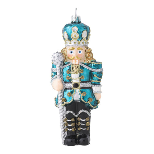 Juliska Berry & Thread Teal Nutcracker Glass Ornament