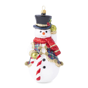 Juliska Berry & Thread Tartan Snowman Glass Ornament