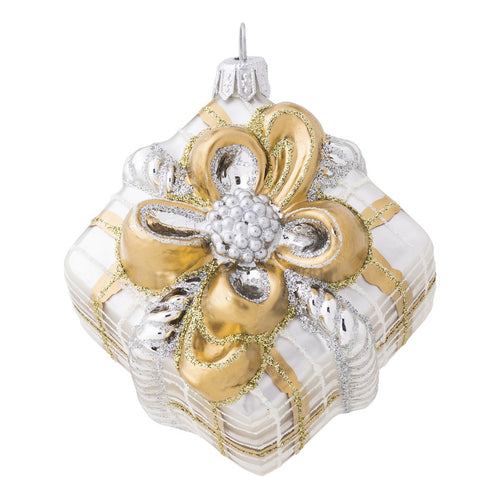 Juliska Berry & Thread Gold & Silver Tartan Present Glass Ornament