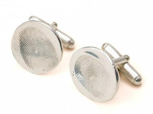 Custom Silver Fingerprint Cufflink Kit