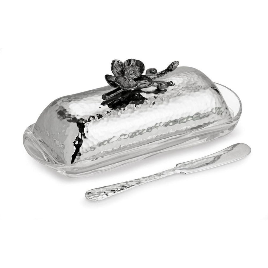 Black Orchid Butter Dish w/ Knife, , Home, Michael Aram, D'Amore Jewelers