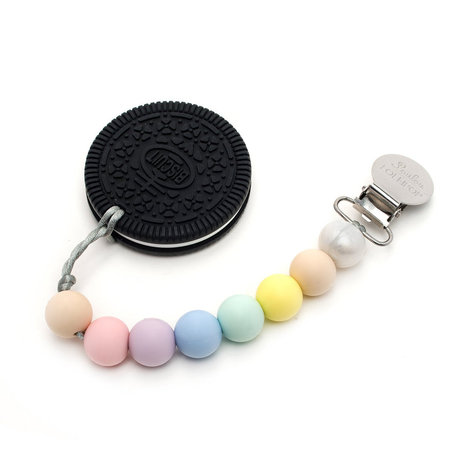 COOKIE SILICONE TEETHER HOLDER SET - COTTON CANDY