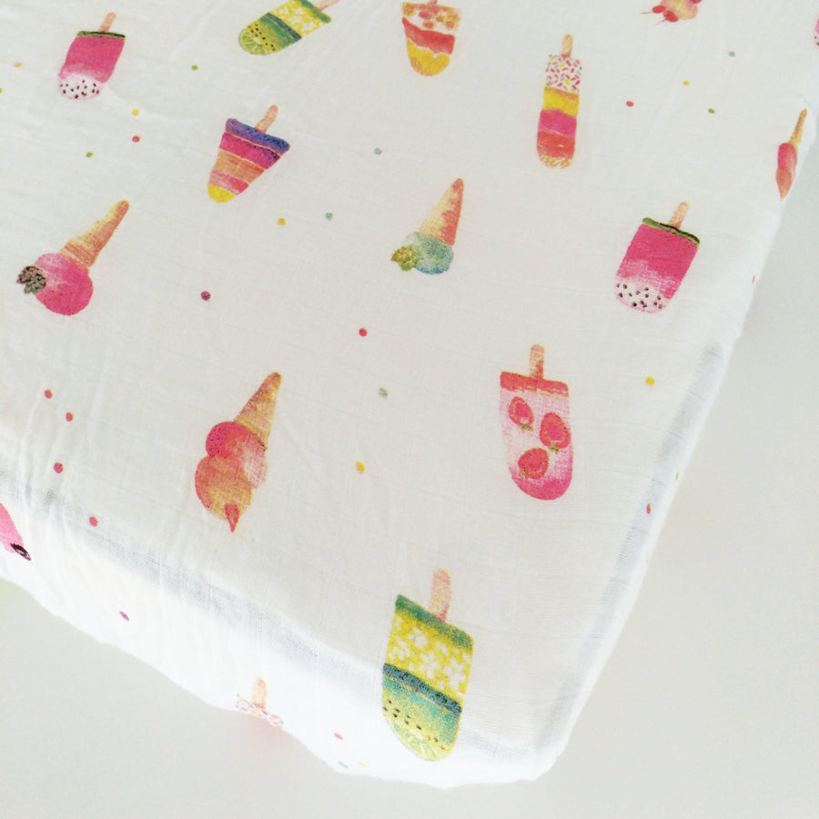 LUXE FITTED CRIB SHEET - ICE CREAM
