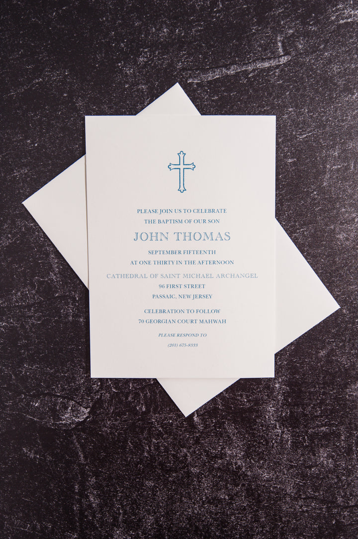 4x6 Thermography Print - Baptism Invitation