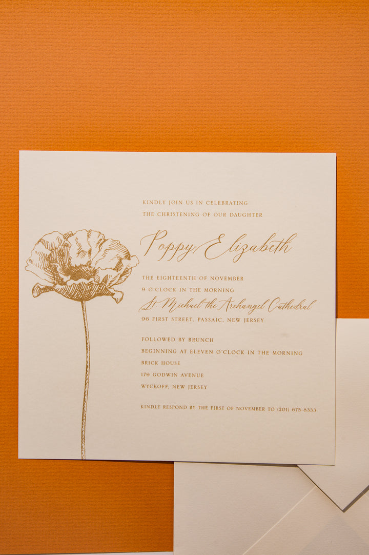 "5 1/2"" x 5 1/2"" Thermography Print - Baptism Invitation"