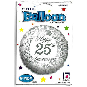 "18"" Foil Balloon - Happy 25th Anniversary"