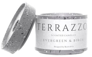Scented Candle Terrazzo Evergreen & Birch (9x8.5cmH)