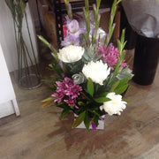Purple and white arrangement