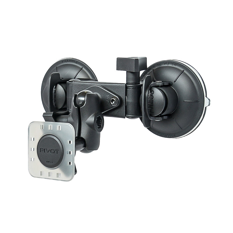 PIVOT Double Suction Cup Mount - Short 1-inch Ball Arm