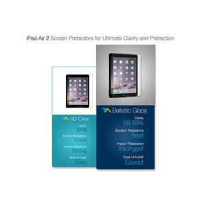 Tech Armor HD Clear Film Screen Protector for Apple iPad Air 1/2 [2-Pack]