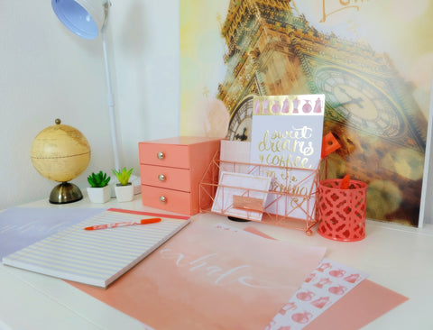 Rose gold desk organizer and accessories set