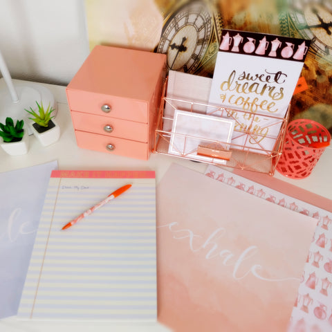 Desk organizer and accessories set rose gold