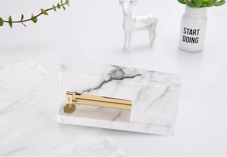 Marble Acrylic and Gold Metal Stapler - Dress My Desk
