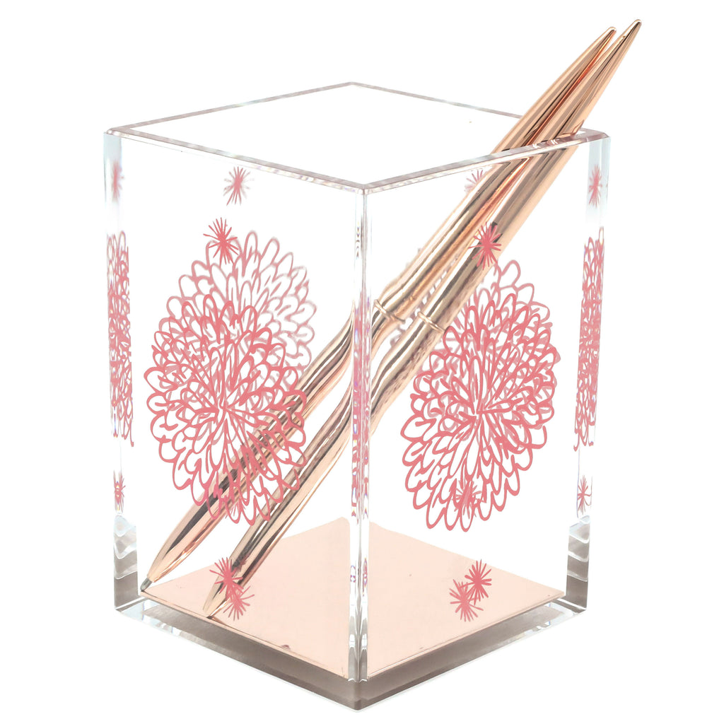 Rose Gold Floral Pen Holder