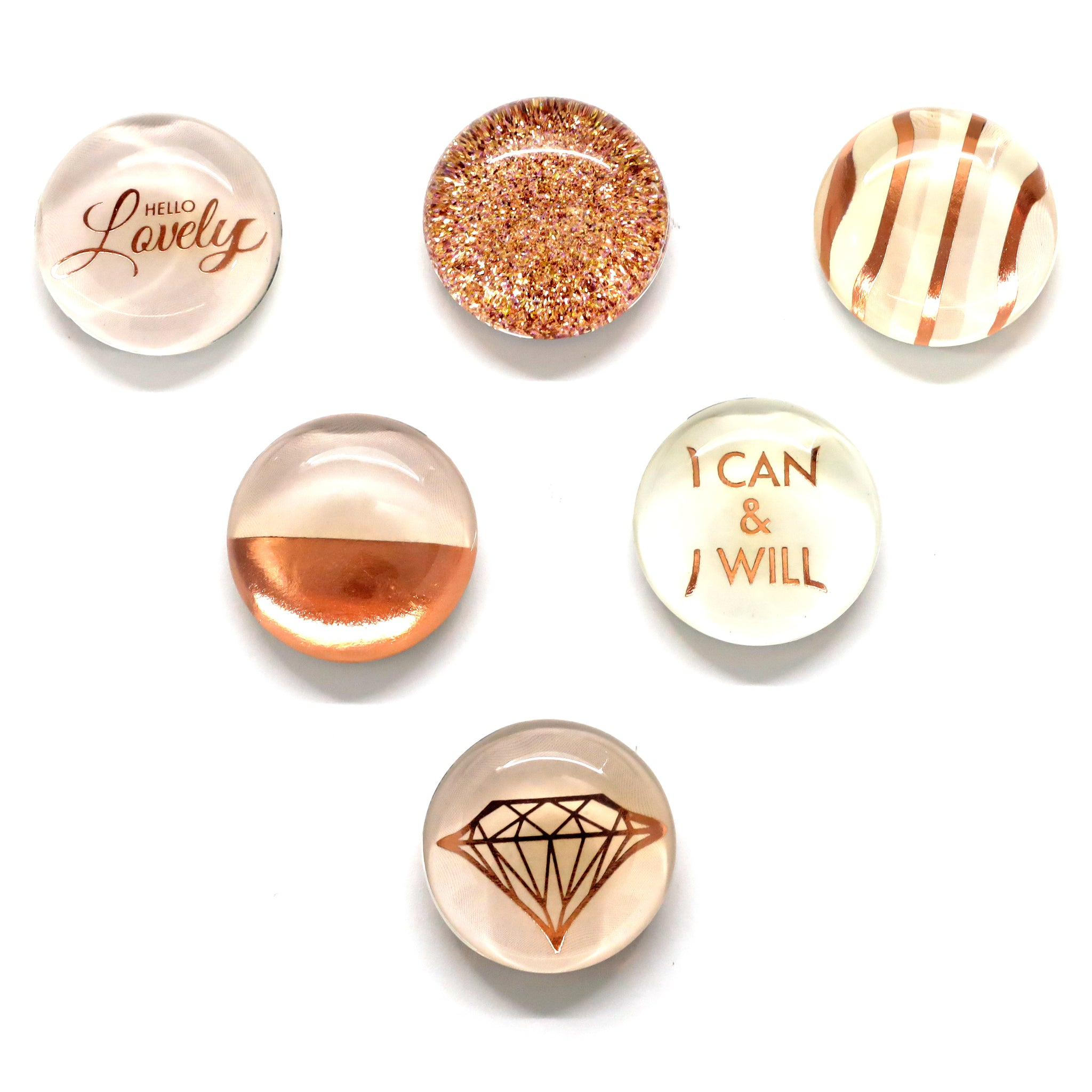 Rose Gold Glass Magnets