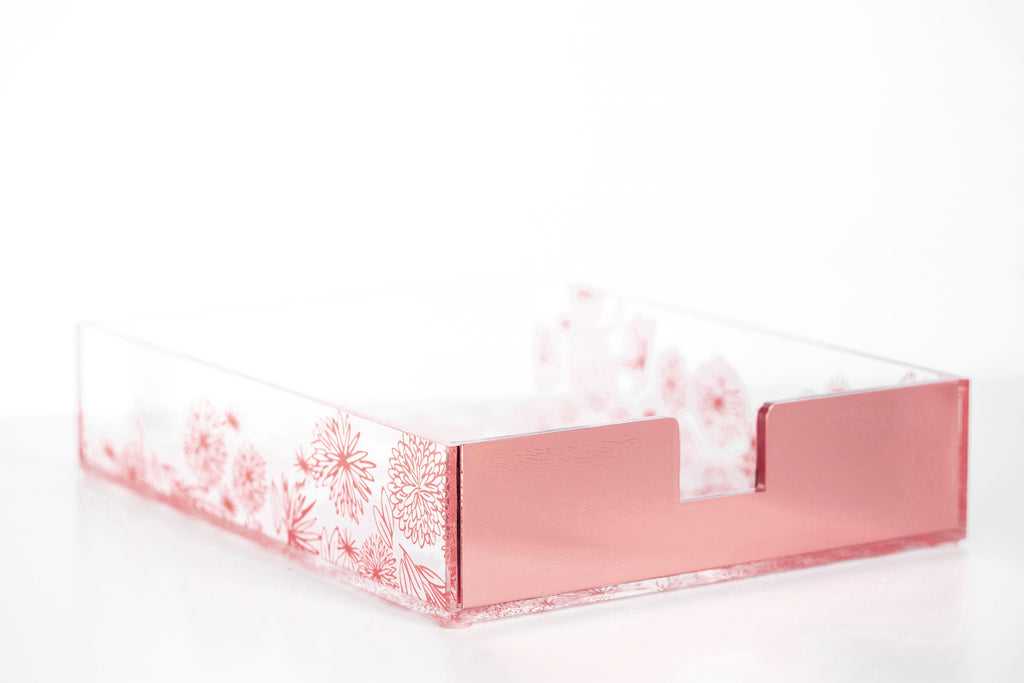 Rose Gold Floral Paper Tray