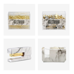 Marble Office Gift Kit With Stapler, Tape Dispenser, Paper Clips and Binder Clips