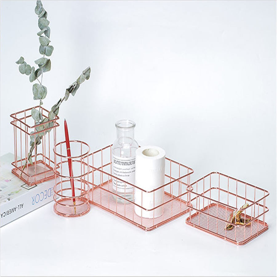 Rose Gold Metal Wire Desk Organizers - Dress My Desk