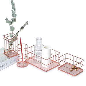 Rose Gold Metal Wire Desk Organizers