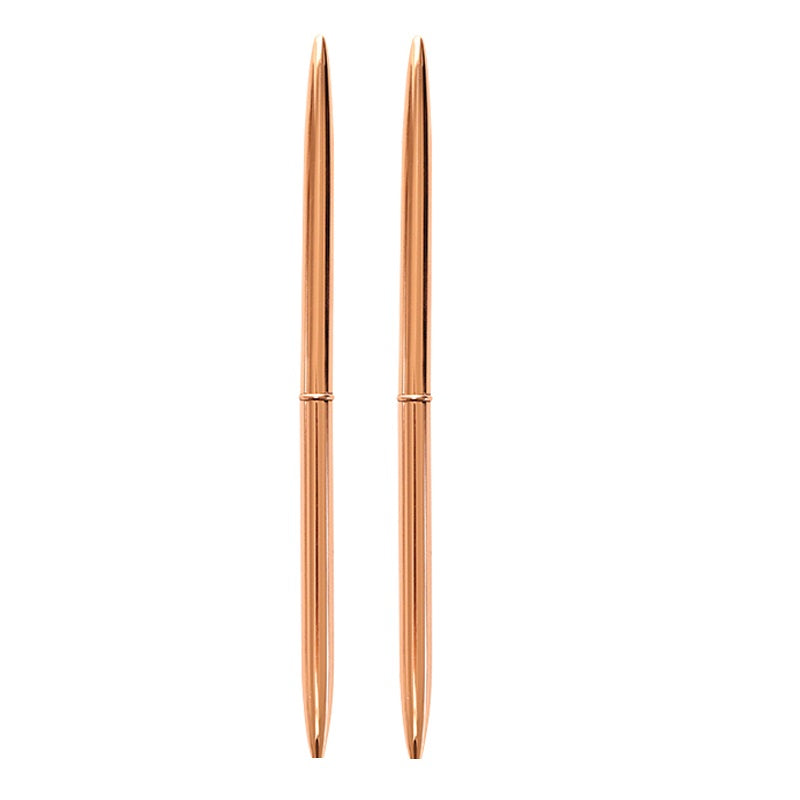 Two Rose Gold Metal Slim Pens
