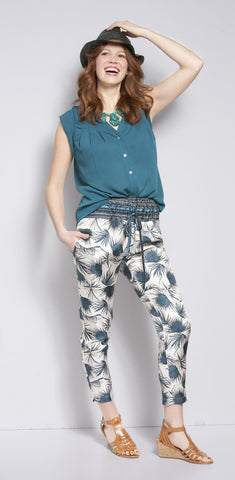 Palm Printed Drawstring Pants
