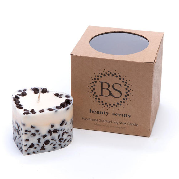 Small Heart Scented Soy Wax  Candle With Coffee Beans box of 6