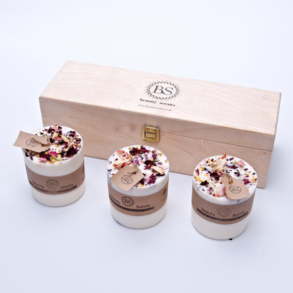 Gift Set of 3 Medium Candles with Rose Petals