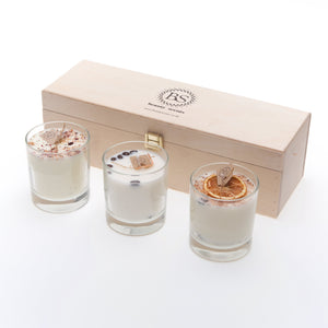 Gift Set of Small 3 Different Candles In Glass
