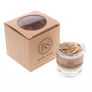 Large Scented Soy Wax Candle With Shredded Cinnamon In Glass Container box of 6